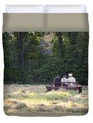 Amish Farmer Raking Hay At Dusk Duvet Cover