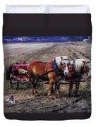 Amish Farming Team Duvet Cover