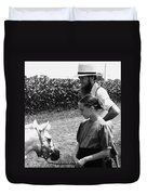 Amish Girl And Pony Duvet Cover