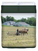 Amish Girl Raking Hay As Painting Duvet Cover