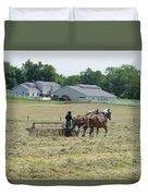 Amish Girl Raking Hay Photo Duvet Cover