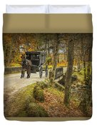 Amish Horse And Buggy Crossing A Bridge Duvet Cover