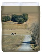 Amish Horse And Buggy On A Country Road Duvet Cover