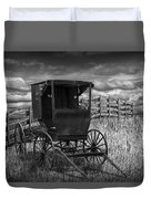 Amish Horse Buggy In Black And White Duvet Cover