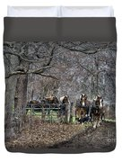 Amish Horses In Harness Duvet Cover