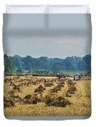 Amish Making Grain Shocks Duvet Cover