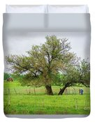 Amish Man And Tree Duvet Cover