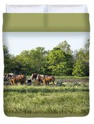 Amish Man Plowing Duvet Cover