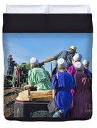 Amish On Steam Engine Duvet Cover