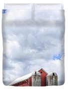 Amish Red Barn And Silos Duvet Cover
