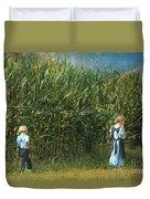Amish Siblings In Cornfield  Duvet Cover