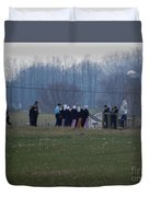 Amish Teens At An Easter Monday Gathering Duvet Cover