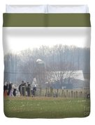 Amish Youth Gather After A Volleyball Game Duvet Cover