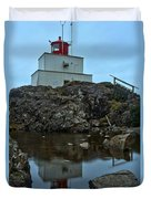 Amphitrite Point Lighthouse Reflections Duvet Cover