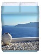 Amphora In Santorini, Greece Duvet Cover