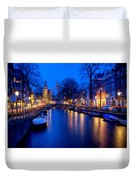 Amsterdam - A Canal Scene At Night . L B Duvet Cover