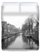 Amsterdam Canal Black And White 2 Duvet Cover