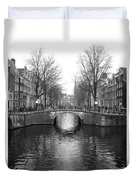 Amsterdam Canal Bridge Black And White Duvet Cover