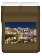 Amsterdam Canal Houses At Night Duvet Cover