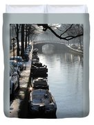 Amsterdam Canal In Winter Duvet Cover