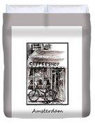 Amsterdam Coffe Shop Black And White Duvet Cover