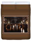 Amsterdam - Night Life L B With Decorative Ornate Printed Frame. Duvet Cover