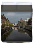 Amsterdam - Singel Canal With The Floating Flower Market Duvet Cover