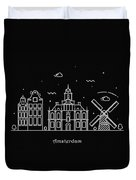 Amsterdam Skyline Travel Poster Duvet Cover