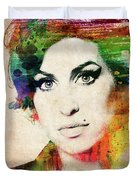 Amy Winehouse Colorful Portrait Duvet Cover