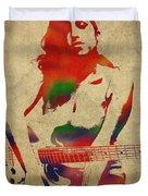 Amy Winehouse Watercolor Portrait Duvet Cover