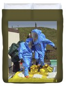 An Airman And A Soldier Jump Into A Tub Duvet Cover by Stocktrek Images