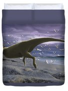 An Albino Carnotaurus Surprising Duvet Cover