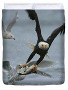 An American Bald Eagle Grabs A Fish Duvet Cover