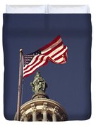 An American Flag And The Statue Duvet Cover