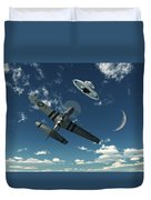 An American P-51 Mustang Gives Chase Duvet Cover by Mark Stevenson