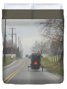 An Amish Buggy In April Duvet Cover