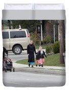 An Amish Family Going For A Walk Duvet Cover