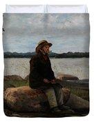 An Angler Ca. 1890 Duvet Cover