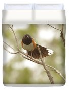 An Angry Towhee Duvet Cover