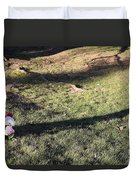 An Arlington Grave With Flowers And Shadows Duvet Cover