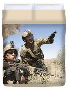 An Army Soldier Informs A Marine Duvet Cover