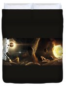 An Asteroid Field Next To An Earth-like Duvet Cover
