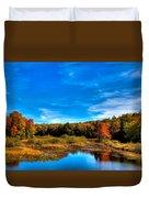 An Autumn Day At The Green Bridge Duvet Cover