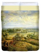 An Autumn Landscape With A View Of Het Steen In The Early Morning Duvet Cover