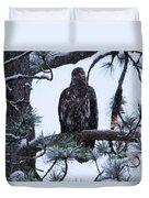 An Eagle Gazing Through Snowfall Duvet Cover