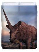 An Elasmotherium Grazing Duvet Cover