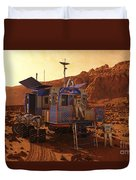 An Explorer Departs A Manned Rover Ina Duvet Cover