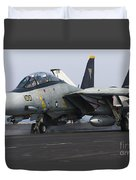 An F-14d Tomcat Launches Off The Flight Duvet Cover