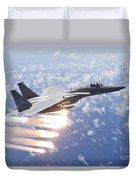 An F-15 Eagle Releases Flares Duvet Cover