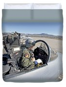 An F-15 Pilot Performs Preflight Checks Duvet Cover by HIGH-G Productions